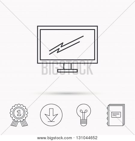PC monitor icon. Led TV sign. Widescreen display symbol. Download arrow, lamp, learn book and award medal icons.