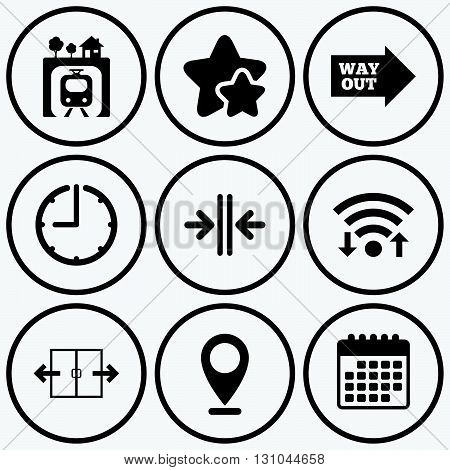 Clock, wifi and stars icons. Underground metro train icon. Automatic door symbol. Way out arrow sign. Calendar symbol.