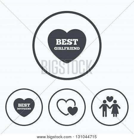 Valentine day love icons. Best girlfriend and boyfriend symbol. Couple lovers sign. Icons in circles.