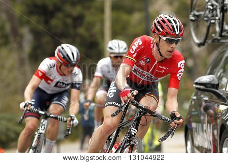 BARCELONA - MARCH, 27: Bart De Clercq of Omega Pharma Lotto Team rides during the Tour of Catalonia cycling race through the streets of Monjuich mountain in Barcelona on March 27, 2016