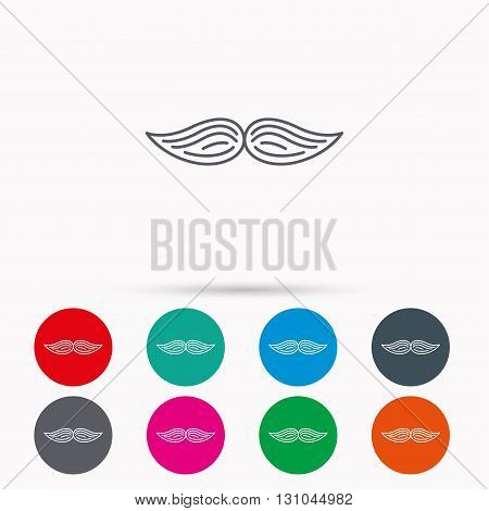 Mustache icon. Hipster symbol. Gentleman sign. Linear icons in circles on white background.
