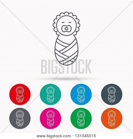 Newborn baby icon. Toddler sign. Child wrapped in blanket symbol. Linear icons in circles on white background.