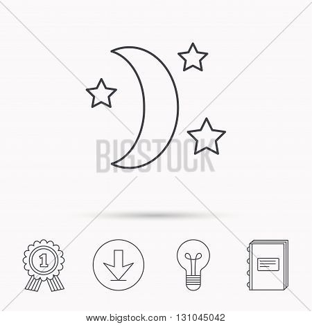 Night or sleep icon. Moon and stars sign. Crescent astronomy symbol. Download arrow, lamp, learn book and award medal icons.