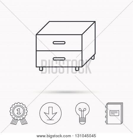 Nightstand icon. Bedroom furniture sign. Download arrow, lamp, learn book and award medal icons.