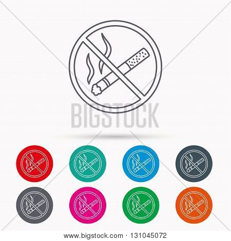 No smoking icon. Stop smoke sign. Linear icons in circles on white background.
