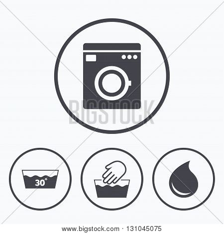 Hand wash icon. Machine washable at 30 degrees symbols. Laundry washhouse and water drop signs. Icons in circles.