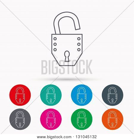 Open lock icon. Padlock or protection sign. Password symbol. Linear icons in circles on white background.