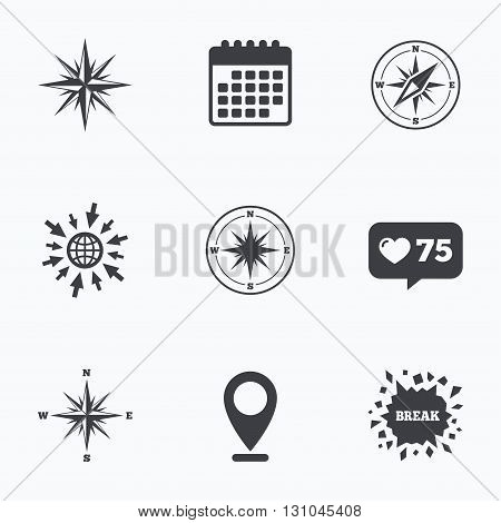 Calendar, like counter and go to web icons. Windrose navigation icons. Compass symbols. Coordinate system sign. Location pointer.