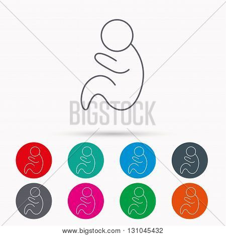Baby infant icon. Pediatrics sign. Newborn child symbol. Linear icons in circles on white background.