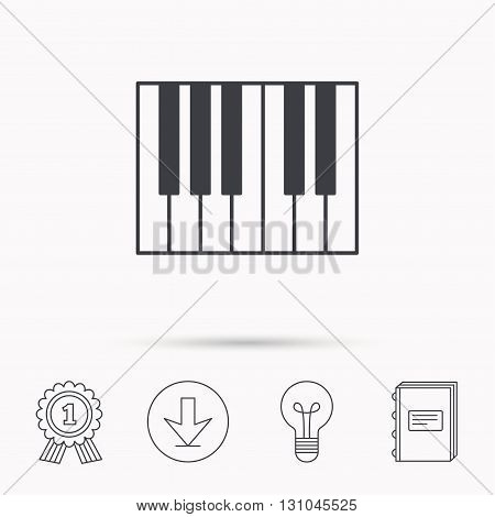 Piano icon. Royal musical instrument sign. Download arrow, lamp, learn book and award medal icons.