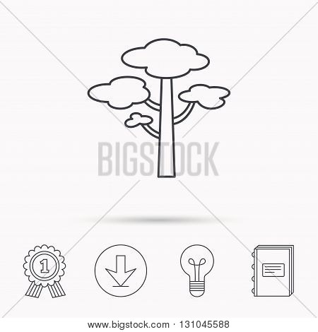 Pine tree icon. Forest wood sign. Nature environment symbol. Download arrow, lamp, learn book and award medal icons.