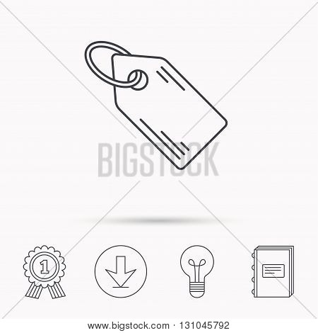 Price tag icon. Discount label sign. Shopping coupon symbol. Download arrow, lamp, learn book and award medal icons.