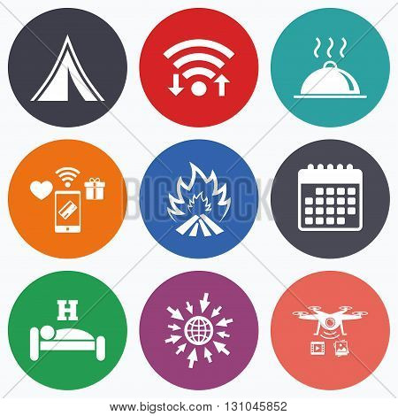 Wifi, mobile payments and drones icons. Hot food, sleep, camping tent and fire icons. Hotel or bed and breakfast. Road signs. Calendar symbol.