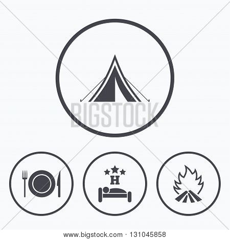Food, sleep, camping tent and fire icons. Knife, fork and dish. Hotel or bed and breakfast. Road signs. Icons in circles.