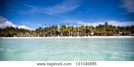 Beautiful amazing beach view from sea, tropical blue sun sea, luxury holiday resort