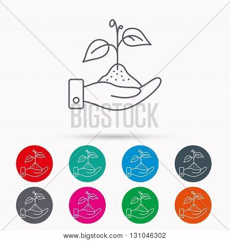 Save nature icon. Hand with plant sprout sign. Ecology environment symbol. Linear icons in circles on white background.