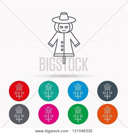 Scarecrow icon. Human silhouette with pumpkin head sign symbol. Linear icons in circles on white background.