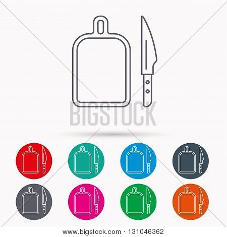 Separating board icon. Kitchen knife sign. Linear icons in circles on white background.