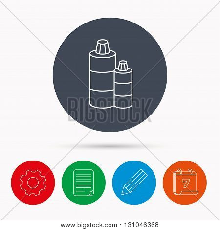 Shampoo bottles icon. Liquid soap sign. Calendar, cogwheel, document file and pencil icons.