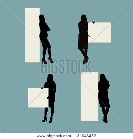 illustratio nof staying woman near banner in different poses
