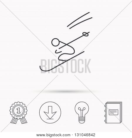 Skiing icon. Skis jumping extreme sport sign. Speed competition symbol. Download arrow, lamp, learn book and award medal icons.