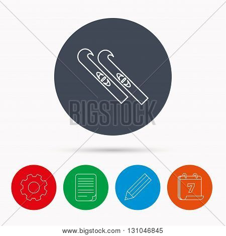 Skiing icon. Skis sign. Winter sport symbol. Calendar, cogwheel, document file and pencil icons.