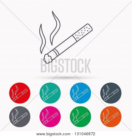 Smoking allowed icon. Yes smoke sign. Linear icons in circles on white background.