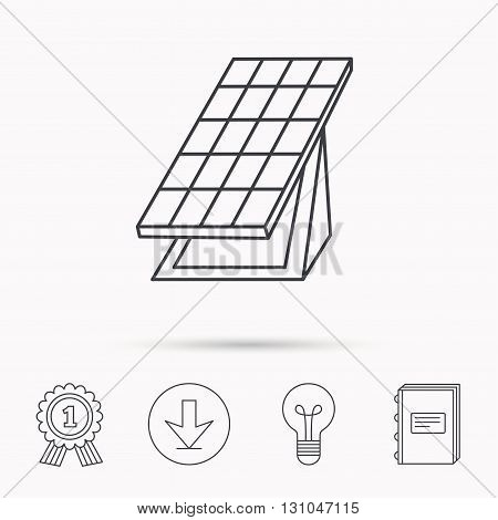 Solar collector icon. Sunlight energy generation sign. Innovation battery power symbol. Download arrow, lamp, learn book and award medal icons.