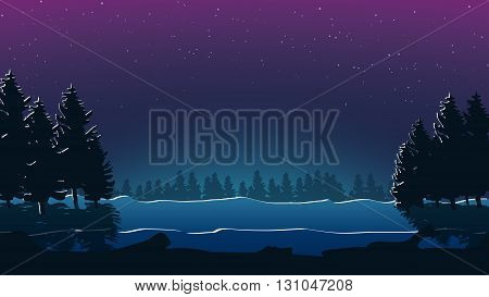 illustration of scary forest at night and clear sky