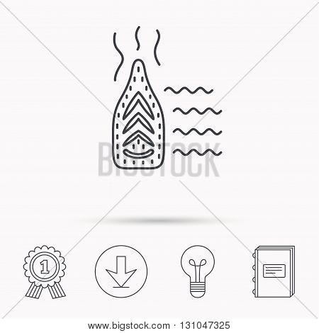 Steam ironing icon. Iron housework tool sign. Download arrow, lamp, learn book and award medal icons.