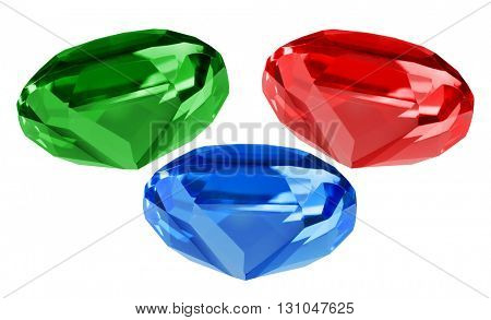 three bright gems isolated on white background