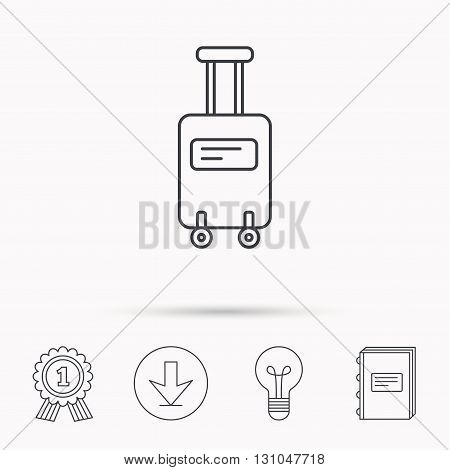 Suitcase with wheels icon. Travel baggage sign. Download arrow, lamp, learn book and award medal icons.
