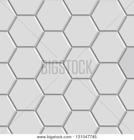 3d hexagon pattern block of gray stone tile for floor construction model