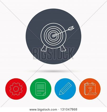 Target with arrow icon. Archery aiming sign. Professional shooter sport symbol. Calendar, cogwheel, document file and pencil icons.