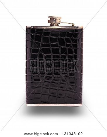 Black hiking flask for traveling carved on a white background