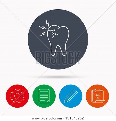 Toothache icon. Dental healthcare sign. Calendar, cogwheel, document file and pencil icons.