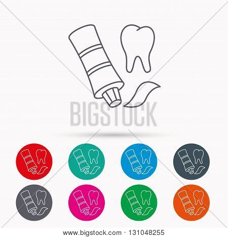 Toothpaste icon. Teeth health care sign. Linear icons in circles on white background.