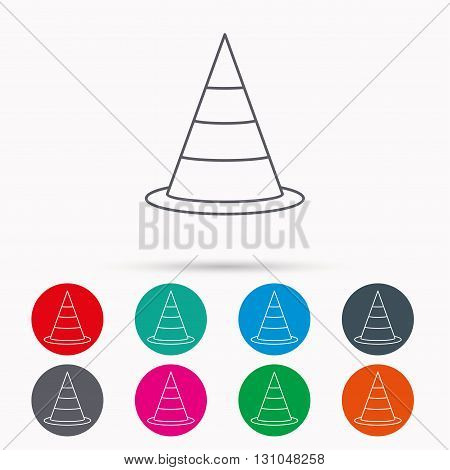 Traffic cone icon. Road warning sign. Linear icons in circles on white background.
