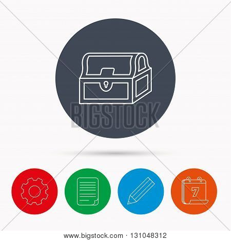 Treasure chest icon. Piratic treasury sign. Wealth symbol. Calendar, cogwheel, document file and pencil icons.