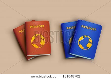 illustration of realistic passports blue and red color with shadows