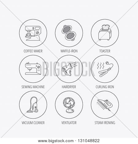 Coffee maker, sewing machine and toaster icons. Ventilator, vacuum cleaner linear signs. Hair dryer, steam ironing and waffle-iron icons. Linear colored in circle edge icons.