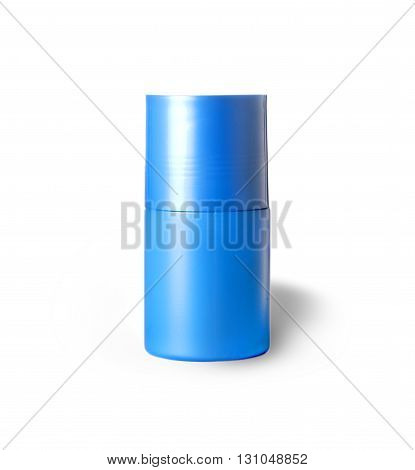 blue plastic bottle with the male shower gel