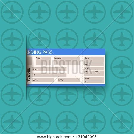 illustration of boarding pass on blue background