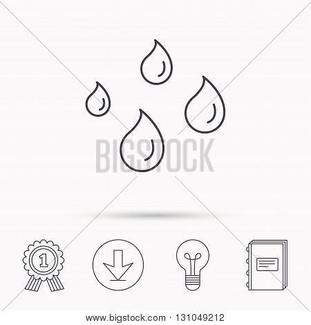 Water drops icon. Rain or washing sign. Rainy day symbol. Download arrow, lamp, learn book and award medal icons.