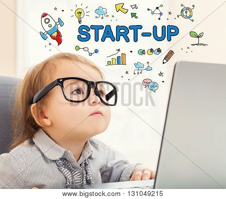 Startup Concept With Toddler Girl