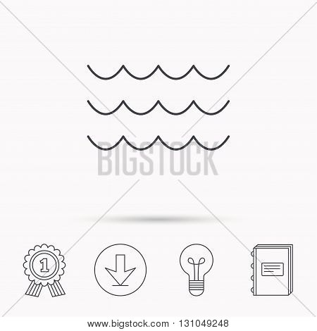 Waves icon. Sea flowing sign. Water symbol. Download arrow, lamp, learn book and award medal icons.
