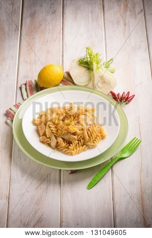 fusilli with  fennel grated lemon peel and hot chili pepper