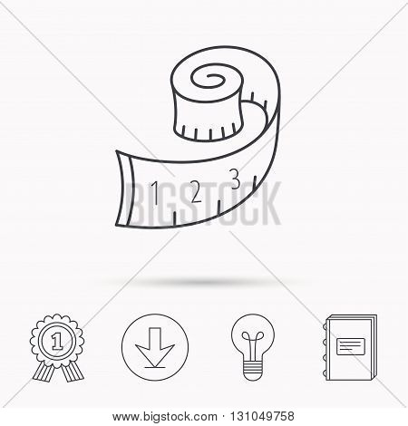 Measuring tape icon. Weight loss sign. Download arrow, lamp, learn book and award medal icons.