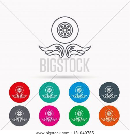 Car wheel icon. Fire flame symbol. Linear icons in circles on white background.