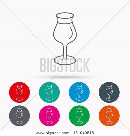 Wine glass icon. Goblet sign. Alcohol drink symbol. Linear icons in circles on white background.